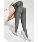 Плътни чорапи над коляното с панделка