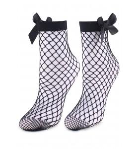 Къси чорапи едра мрежа с панделка