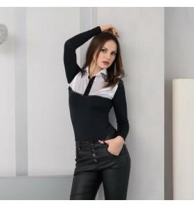 Боди блуза черно и бяло