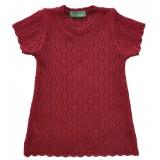 Червена детска плетена туника