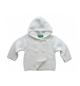 Бяла бебешка жилетка 62-92 см. с копчета