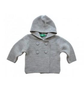 Сива плетена бебешка жилетка 62-92 см.