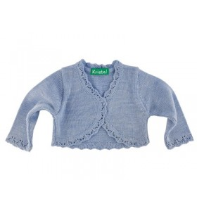 Синьо детско плетено болеро