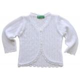 Бяла детска жилетка за момиче 86 см до 110 см