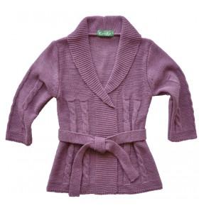 Дълга детска жилетка плетена лилава за момиче
