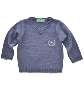 Син плетен пуловер за момче дълъг ръкав от 1г. до 12г.