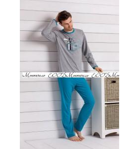 Мъжка пижама GowinDE сиво-синьо