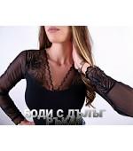 Дамско боди блуза с остро деколте