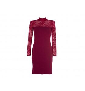 Дамска ежедневна рокля в бордо вълна