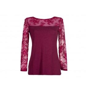 Дамска блуза в бордо фина вълна